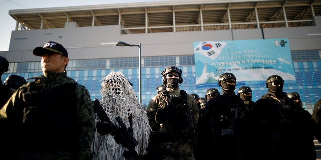 To prepare for the Olympics, 400 police officers in South Korea ran through drills, staging a range of offensive actions that the North might target while the event is underway. They included a drone armed with a bomb, a chemical weapon attack, and hostage-taking. Some 5,000 armed forces personnel will be deployed to the actual Games.