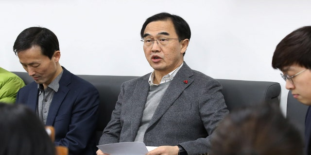 South Korean Unification Minister Cho Myoung-gyon speaks at the Unification Ministry in Seoul, South Korea, Saturday, Jan. 20, 2018.