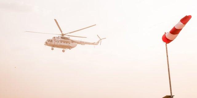 Helicopter of Secretary-General Ban Ki-moon seen in February above Juba, South Sudan.
