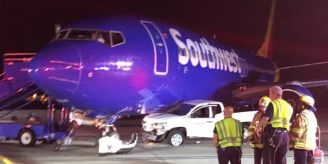 Officials are said to be investigating why a ground vehicle struck the Southwest aircraft on Monday morning.