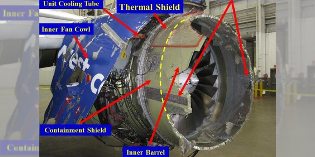 A figure included with the report details the damage to the engine.