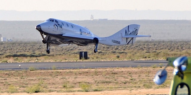 The private space plane SpaceShipTwo lands after a successful glide test June 21 at Mojave Air and Space Port in California.
