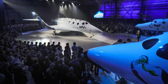 Virgin Spaceship Unity is unveiled in Mojave, California, Friday Feb. 19, 2016.