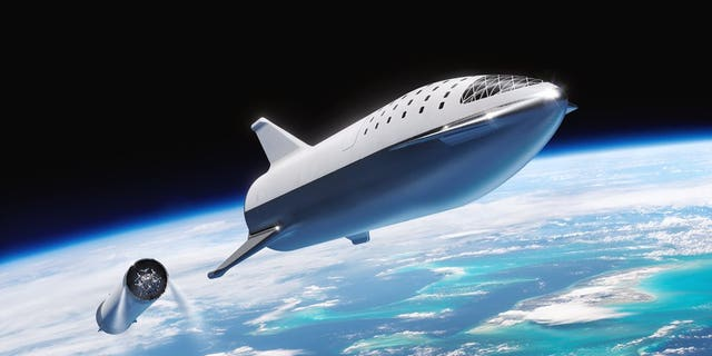 An artist's illustration of SpaceX's Big Falcon Rocket launching into space. SpaceX will launch Japanese entrepreneur Yusaku Maezawa on the first private passenger flight around the moon, possibly in 2023.