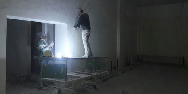 Construction work on Avicenna Womens and Children's Hospital in Idlib.