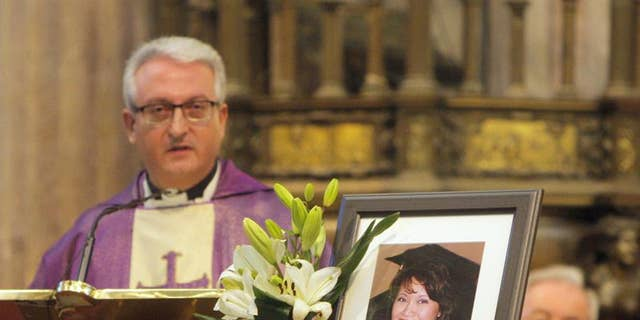 Memorial service at the cathedral of Santiago de Compostela for Denise Thiem on Sept. 16, 2015.