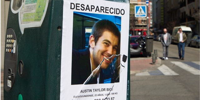 March 6, 2011: A poster of missing U.S. student Austin Bice, stuck to a parking meter in Madrid. Police, family and friends have stepped up a search for the San Diego State University exchange student who went missing after visiting a nightclub in Madrid more than a week ago.