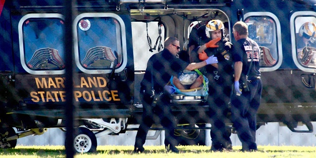 A Maryland State Police helicopter flew the injured man to the R. Adams Cowley Shock Trauma Center at the University of Maryland in Baltimore.