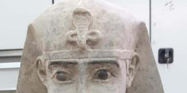 The sphinx statue is likely from the Ptolemaic era (Egyptian Ministry of Antiquities)