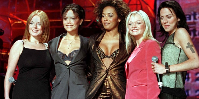 British band the Spice Girls (L-R) Geri, Victoria, Mel B., Emma and Mel C.