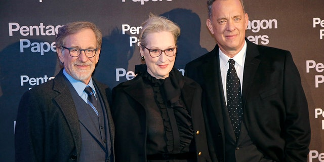 Spielberg, (l.), with Streep and Hanks, are touting a movie about journalism even as Big Journalism tries to squelch a damning memo