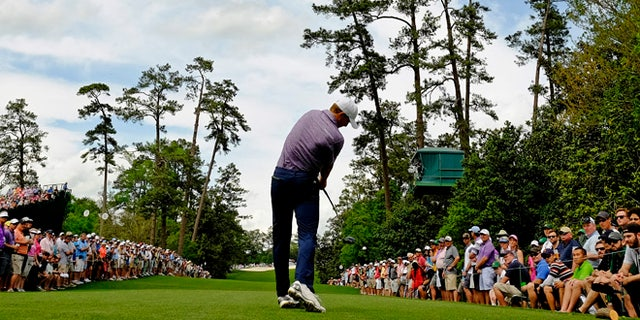 Apr. 10, 2015: Jordan Spieth tees off on the 18th hole during the second round of the Masters golf tournament in Augusta, Ga. (AP)