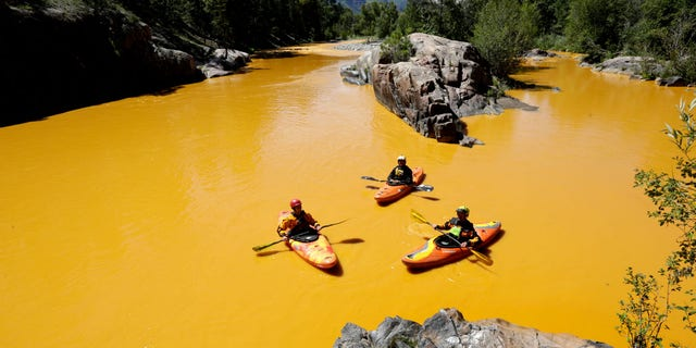 The mustard-colored plume stretched 80 miles at one point. (AP)