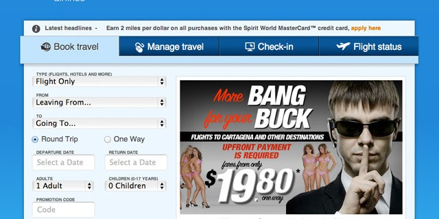 Spirit Airlines is advertising cheap, one-way flights to Colombia by lampooning the Secret Security prositution scandal.