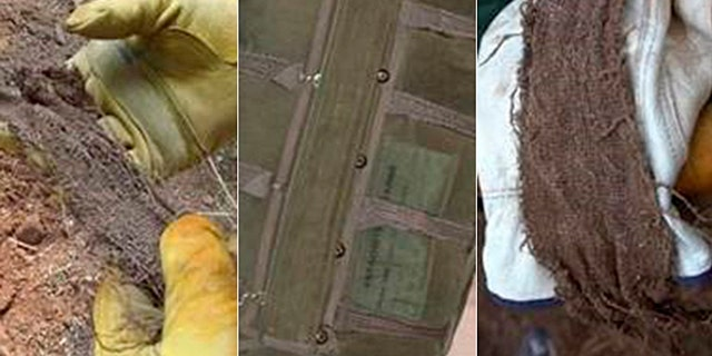 Images shows shots of the nylon strap found in a mound of dirt, with a photo of a Navy Backpack 8 (NB 8), like the one D.B. Cooper jumped with.  Tom Colbert noted a similar strap can bee seen in the middle of the NB 8.