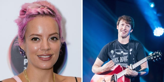 Lily Allen claimed she walked in on James Blunt, right, having sex in her hotel room with somebody.