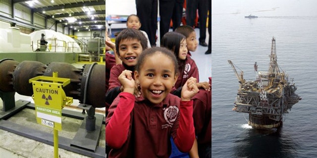 Shown here are a nuclear plant in Vernon, Vt., left; school children in Oakland, Calif., center; and a Chevron oil rig in the Gulf of Mexico. (AP Photos)