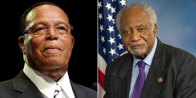 Louis Farrakhan, left; Rep. Danny Davis, right.