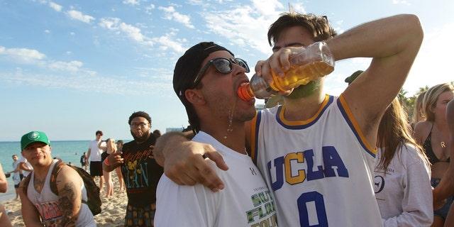 Spring Breakers party at Las Olas beach in Fort Lauderdale, Florida.