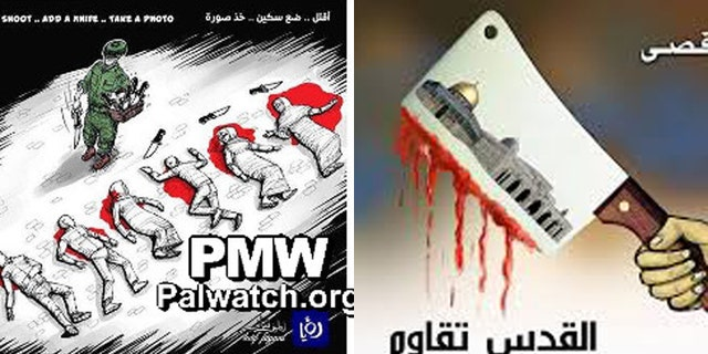 Cartoons in newspapers controlled by Hamas and the Palestinian Authority regularly call for knife attacks. (PalWatch.org)