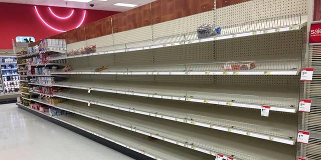 Empty grocery store shelves in Stafford, Virginia.