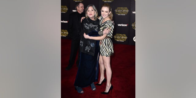 "Carrie Fisher, left, and daughter Billie Lourd arrive at the world premiere of ""Star Wars: The Force Awakens"""