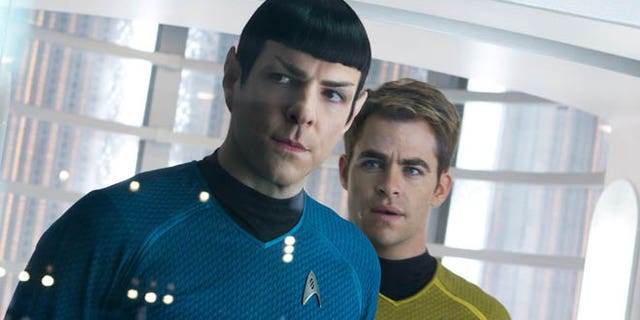 "May 16, 2013: This undated publicity film image released by Paramount Pictures shows, Zachary Quinto, left, as Spock and Chris Pine as Kirk in a scene in the movie, ""Star Trek Into Darkness,"" from Paramount Pictures and Skydance Productions. The three astronauts in the International Space Station were offered a sneak peak of the movie days before it opens on Earth."