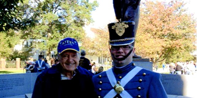 George W. Starks standing with his grandson, Marshall Starks, at his graduation in West Point from the United States Military Academy