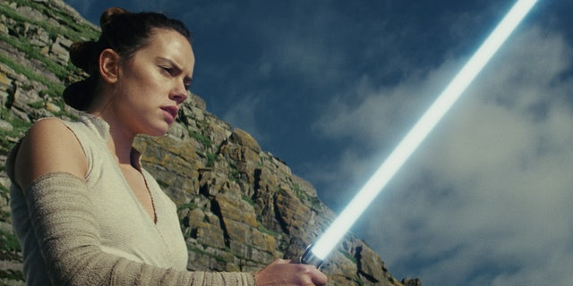"This image released by Lucasfilm shows Daisy Ridley as Rey in ""Star Wars: The Last Jedi."""