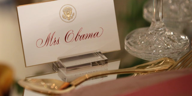 Oct. 17, 2016: First lady Michelle Obama's place card is seen on a table during a preview in advance of the State Dinner in honor of the Official Visit of Italian Prime Minister Matteo Renzi and his wife Agnese Landini, in the State Dining Room of the White House in Washington.