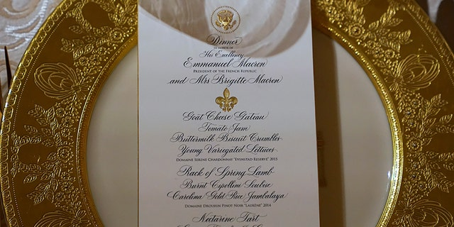 Guests at the state dinner will dine on goat cheese gateau, rack of lamb, jambalaya, and a selection of American/French wines.