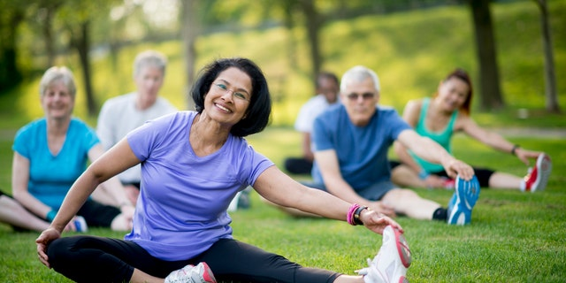A multi-ethnic group of senior adults are taking an outdoor yoga class at the park. They are sitting in the grass and stretching to increase flexibility and reduce injury.
