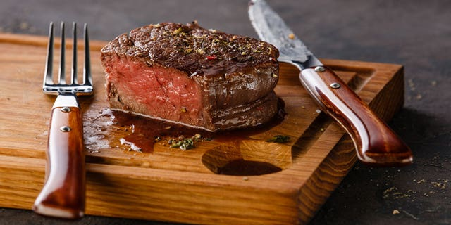 The pinkish juice leaking from red meat, both cooked and raw, is actually a different substance.