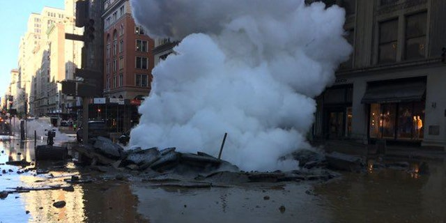 The steam pipe explosion left a large crater on Fifth Avenue and 21st Street.