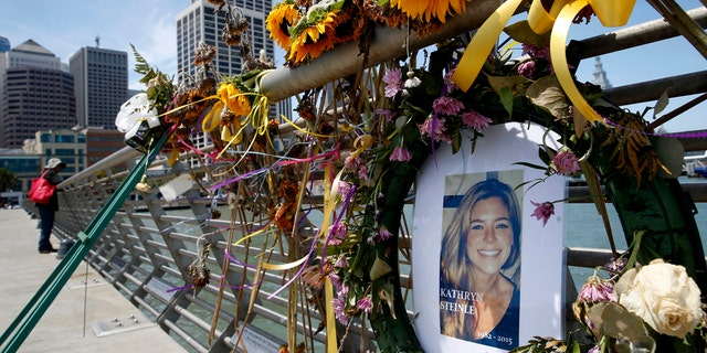 A memorial for Kate Steinle is seen on Pier 14 in San Francisco.