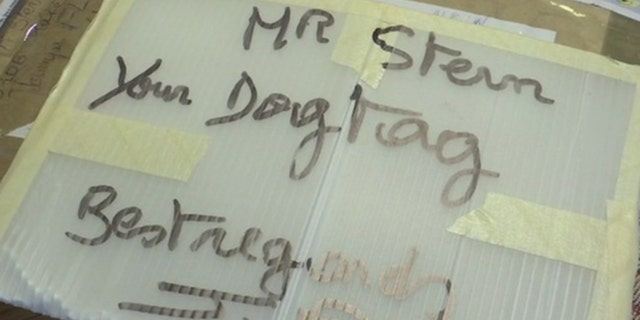 A collector of World War II artifacts in France mailed the lost dog tag to Boris Stern this week.