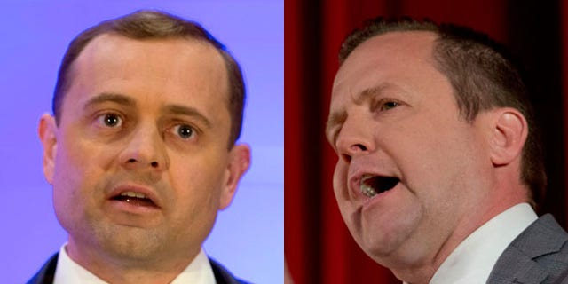 At left, Democratic candidate for Virginia governor Tom Perriello; at right, Republican candidate Corey Stewart.