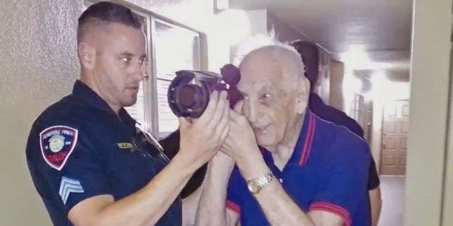 On Wednesday, members of PPPD SWAT came to the Korean War veteran's home to let him try on their night-vision goggles.