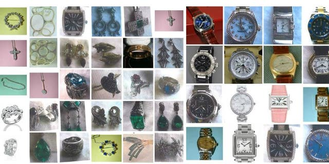 Some of the jewelry and watches stolen by a burglar from seven homes in Great Britain.