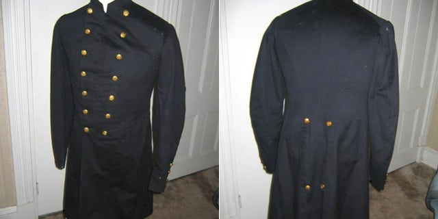 This Union Civil War uniform coat with 14 gold infantry buttons down the front that was stolen from the Clinton County Historical Society in 2008.