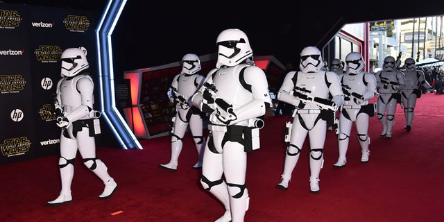 """Dec. 14, 2015: Stormtroopers march on the red carpet at the world premiere of """"Star Wars: The Force Awakens"""" at the TCL Chinese Theatre in Los Angeles."""