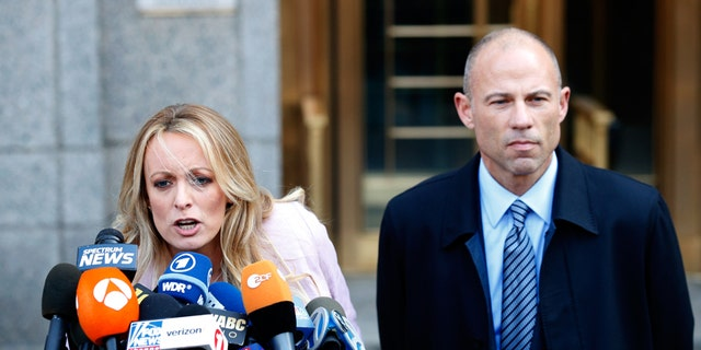 Stormy Daniels and Michael Avenatti outside the federal court in Manhattan earlier this year.