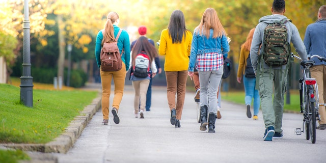 University students walking on footpath in campus.