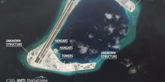A satellite image showing development at Subi Reef.