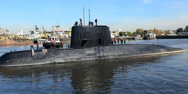 The Argentine military submarine ARA San Juan and crew are seen leaving the port of Buenos Aires in June 2014.