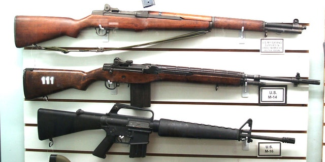 The evolution of the standard infantry rifle is seen in this display at the Arizona Military Museum in Phoenix. From top to bottom: the M1 Garand, the M14 and the M16 – showcasing 30 years of weapons development.  (Photo: Peter Suciu)