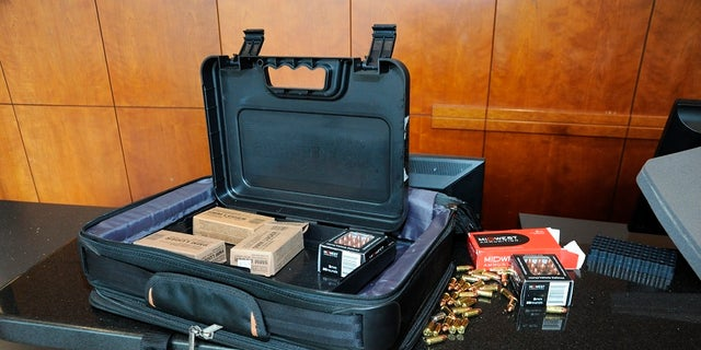 Police released an image showing a briefcase containing ammunition used by suspect Omar Enrique Santa Perez in a shooting on Thursday, Sept. 6, 2018.