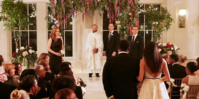 Markle walks down the isle in the upcoming 'Suits' episode.
