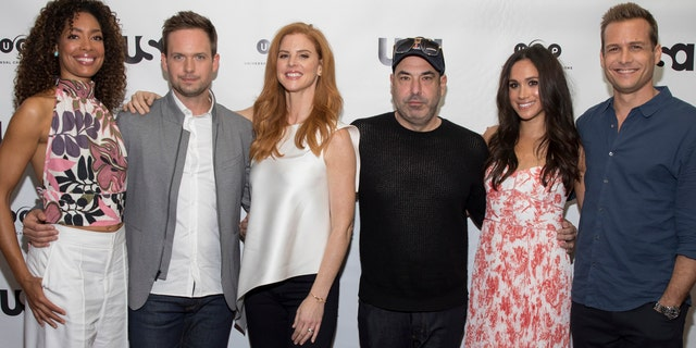 All of Markle's former cast members, Gina Torres, Patrick J. Adams, Sarah Rafferty, Rick Hoffman and Gabriel Macht, attended the May 19 nuptials in Windsor, England.