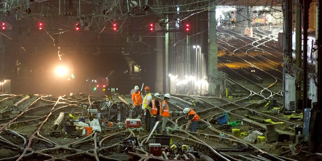 Amtrak workers began to repair tracks in New York's Penn Station on Monday, July 10, 2017.